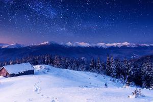 stars snow mountains landscape cabin winter