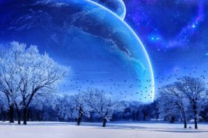 stars trees digital art space winter planet space art