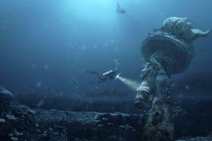 statue of liberty futuristic platinum conception wallpapers divers digital art photoshop underwater