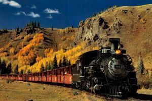 steam locomotive train vehicle landscape