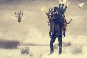 steampunk gas masks landscape fantasy art digital art artwork castle birds