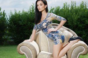 stiletto women armchairs brunette hands on hips model katie fey high heels