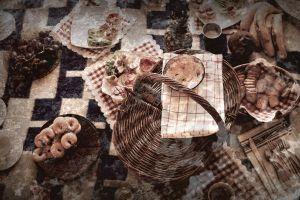 still life baskets food