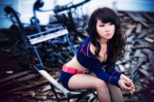 stockings chair asian long hair cleavage sitting cosplay fishnet legs brunette women smoking cigarettes asian cosplayer