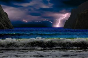 storm sea beach landscape nature