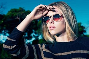 striped clothing sunglasses actress women outdoors blonde women women with glasses celebrity scarlett johansson