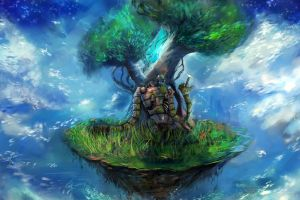 studio ghibli castle in the sky trees fantasy art anime nature