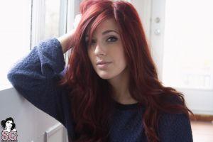 suicide girls redhead long hair velour suicide women piercing