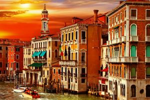 sun building boat venice italy house venezia canal grande