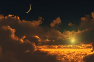 sun moon sunlight sunset clouds space anime