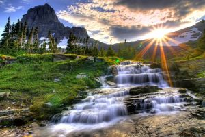 sun sunlight mountains waterfall hdr sky landscape nature water clouds
