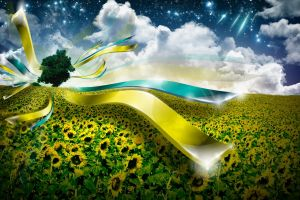 sunflowers stars field ukraine sky digital art