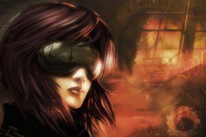 sunglasses ghost in the shell anime cyborg anime girls kusanagi motoko dark hair