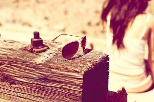 sunglasses long hair glasses wood screws  sitting women