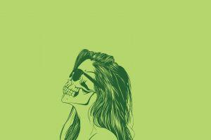 sunglasses minimalism women artwork skull long hair green simple background