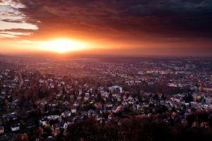sunlight bird's eye view baden-württemberg sky sunset cityscape germany clouds