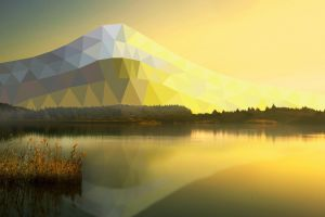 sunlight digital art low poly mountains landscape lake