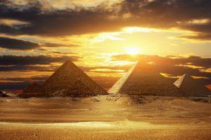 sunlight pyramid desert egypt clouds