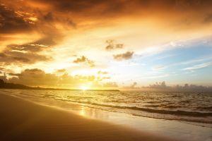 sunlight sky beach sea clouds