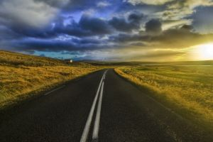 sunlight sky digital art clouds road