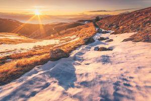 sunlight sky winter landscape