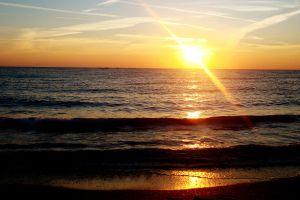 sunlight sun beach horizon sea sunset