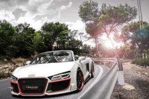 sunlight trees road front angle view vehicle audi r8 spyder clouds audi audi r8 white cars