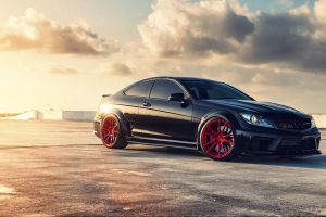 sunlight yellow black cars bright asphalt c63 amg red rims vehicle car mercedes-benz