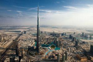 sunny cityscape city dubai town building road skyscraper desert architecture burj khalifa sky urban