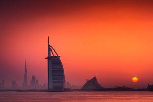 sunset dubai cityscape