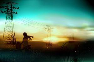 sunset fantasy art bicycle silhouette anime girls power lines artwork anime utility pole