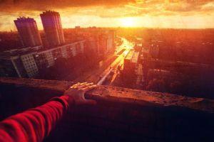 sunset hands city sky sunlight landscape