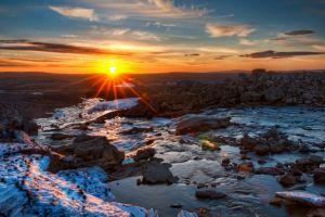 sunset landscape river nature rock