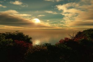sunset landscape sun sky sea