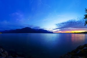 sunset nature mountains sea