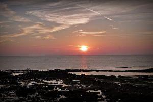 sunset sky beach sunlight