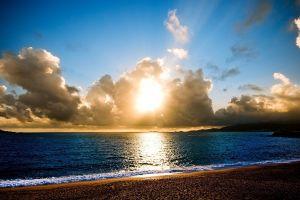 sunset sky sunlight clouds sea