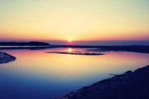 sunset water coastline nature