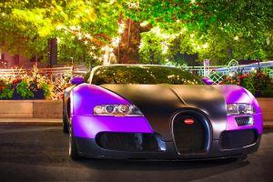 supercars vehicle bugatti veyron trees purple car