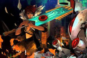 supergiant games transistor video games red (transistor) artwork