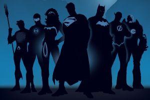 superhero batman the flash flash artwork wonder woman blue background aquaman green lantern silhouette minimalism superman dc comics