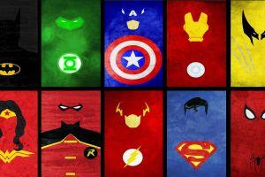 superman marvel comics captain america wonder woman wolverine spider-man collage iron man green lantern batman the flash dc comics