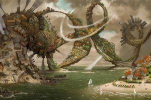 surreal house artwork boat contrails spiral