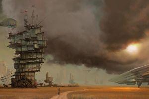 surreal sun path clouds desert steampunk digital art futuristic building artwork fantasy art airships aircraft
