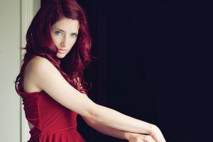 susan coffey model women red dress redhead