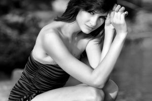 susan coffey women model looking at viewer one-piece swimsuit monochrome