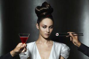 sushi olga kurylenko actress green eyes model women brunette airbrushed