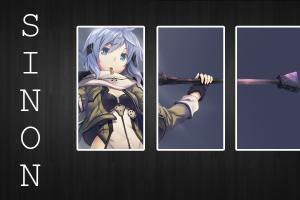 sword art online typography asada shino collage anime girls