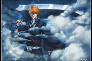 sword glowing eyes hollow clouds bleach kurosaki ichigo
