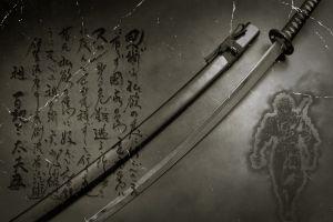 sword katana kanji japanese typography anime digital art